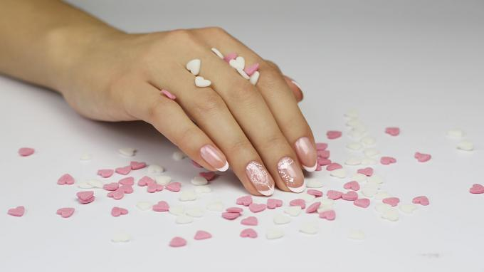 Romantic CrystaLac Nail Art Design for Valentine's Day