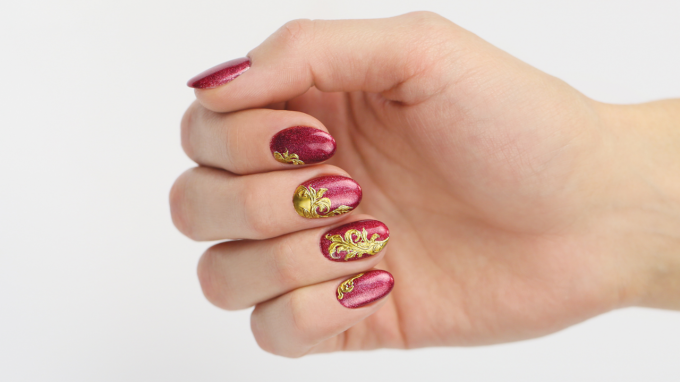 Red Prismatic Nails with Gold Vines