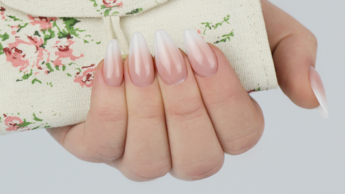 Baby Boomer Acrylic Nails - Classic Almond Shape
