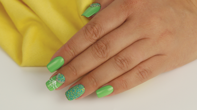 Spring Nail Art Design with Sugar Dust