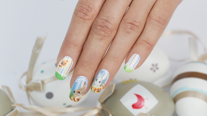 Cute Easter Nail Art Design created with the One Move Technique